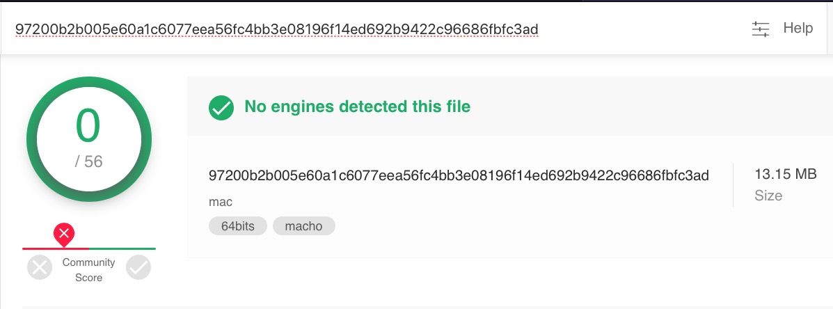 image of virustotal detections