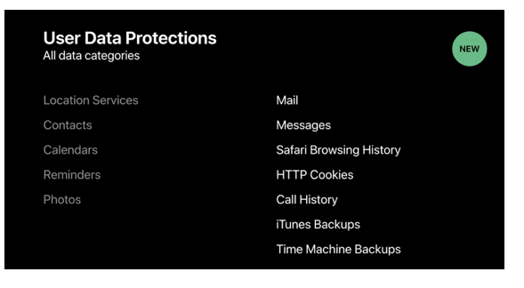 A screenshot image of the published User Data Protections at WWDC 2018
