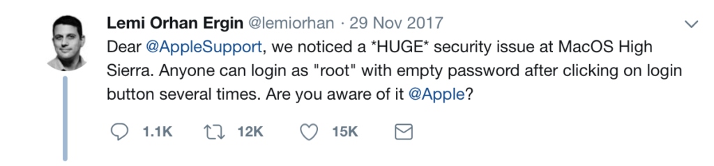 A Twitter screenshot of Lemi Orhan Ergin's tweet to Apple Support saying he found a huge computer safety issue with MacOS High Sierra.