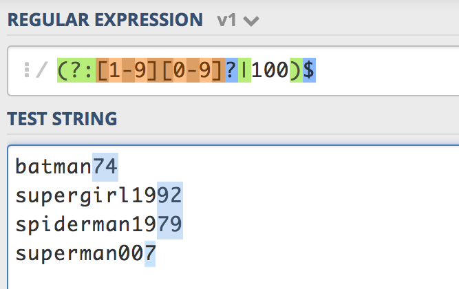 A screenshot image of regex number