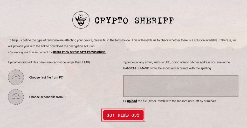 A screenshot of Crypto Sheriff