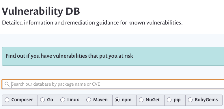 A screenshot of Vulnerability databases