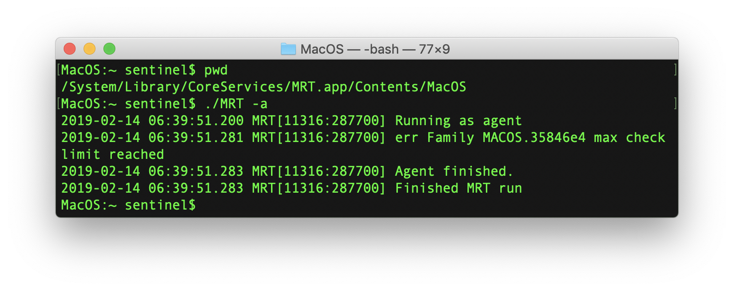 Screenshot of SentinelOne's MacOS trying to find MRT