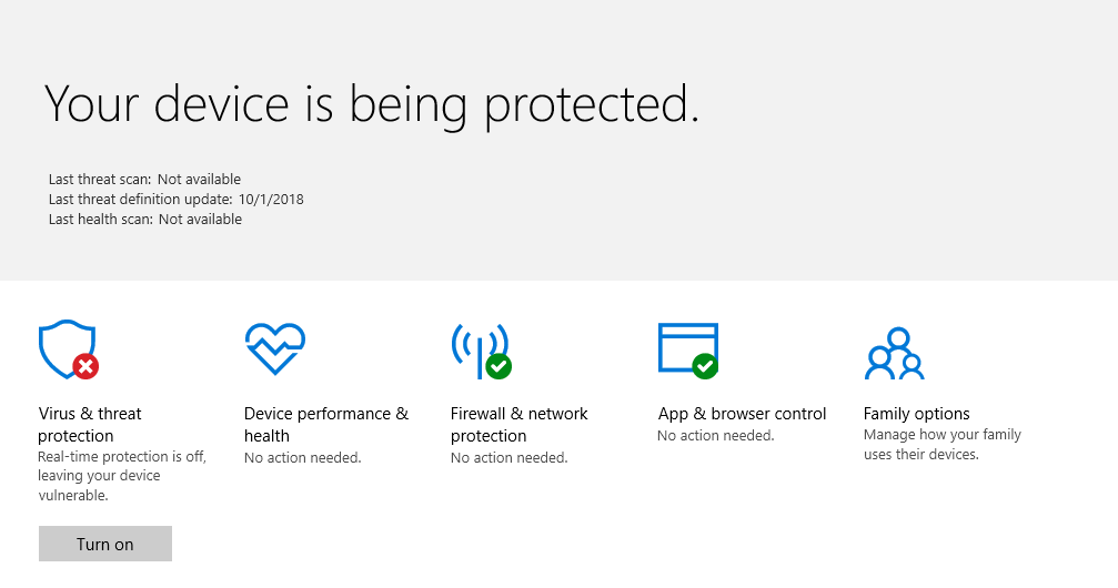Image of Windows Defender Disabled