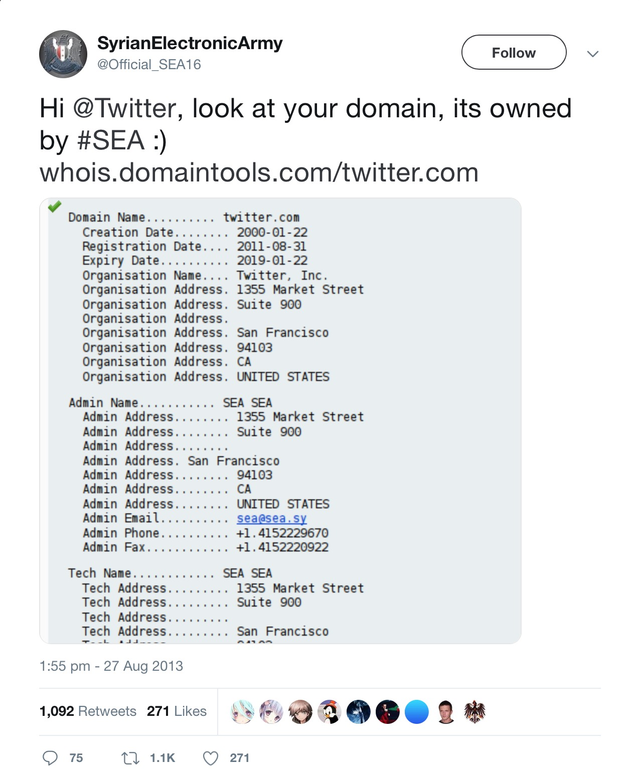Image of Twitter DNS Hijacked