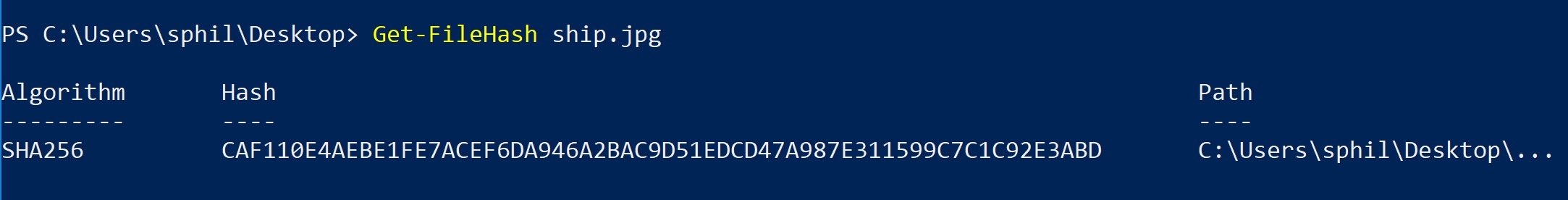 image of use powershell to create hash