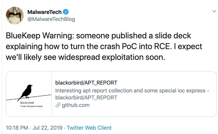 image of malwaretech tweet in regards to Bluekeep