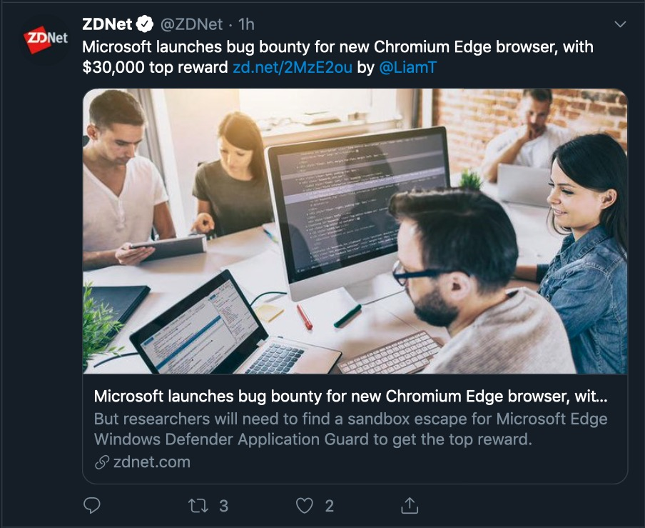 image of edge bug bounty announcement