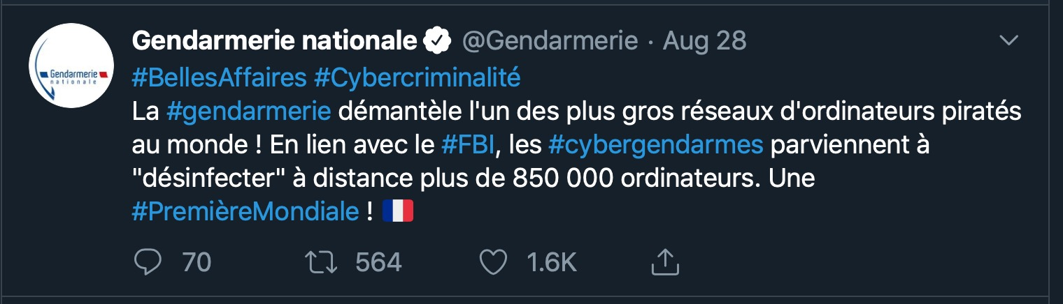 image of french police tweet