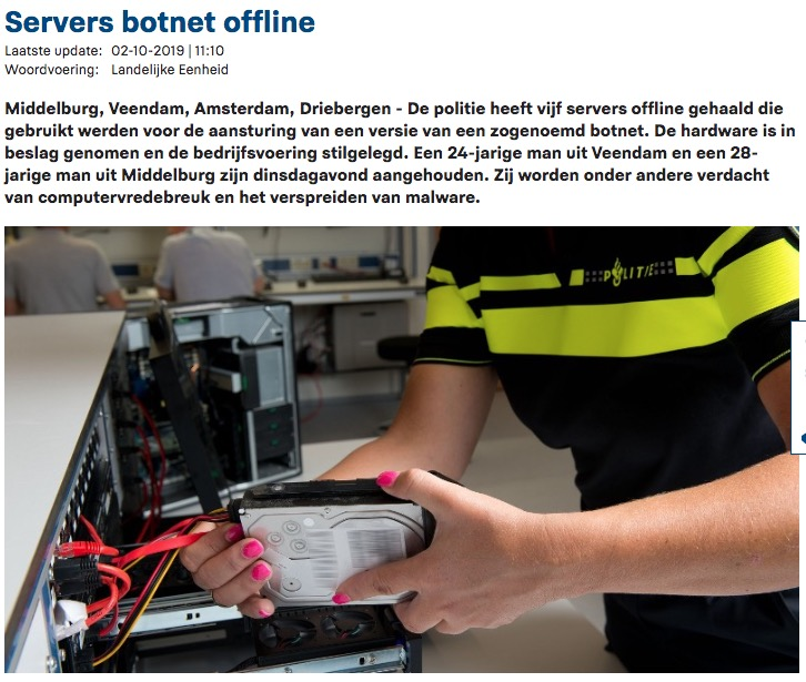 image of dutch police takedown botnet