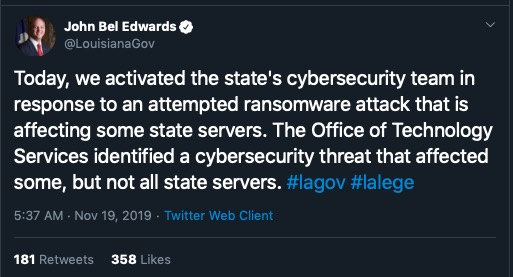 image of louisiana ransomware attack tweet