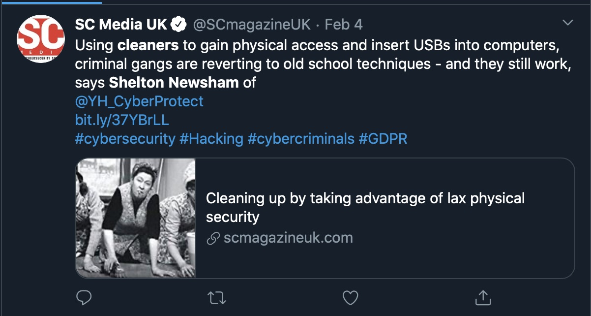 image of tweet about cybersecurity fake cleaners