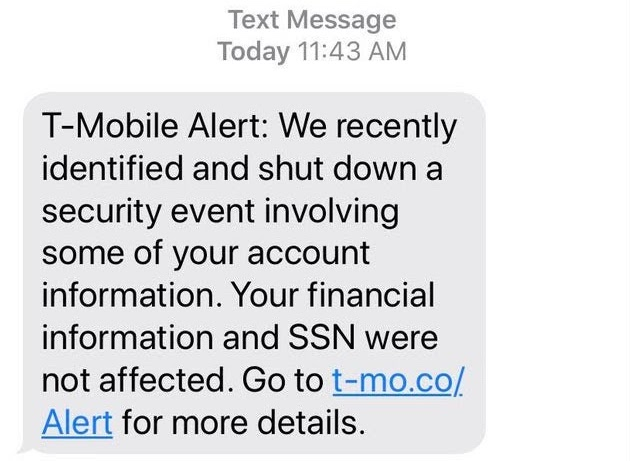 image of text message alert from T-Mobile to customers stating that a data breach had occurred